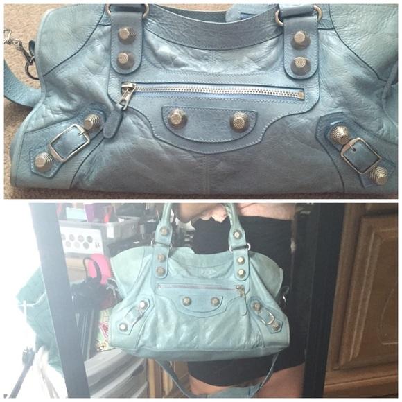 52ec06a3b40 Balenciaga Handbags - BALENCIAGA giant part time city SHW sea foam blue