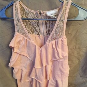 Kenar Tops - Peach colored top with lace.