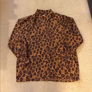 Vintage leopard print silk shirt, size M