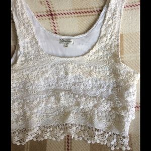 Olsenboye crochet top sz XL white