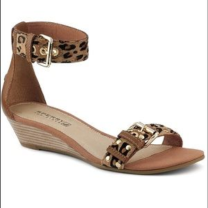 Sperry Top-Sider Shoes - Leopard Print Leather Wedge Sandals