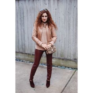 Zara Pants - ZARA faux leather maroon leggings