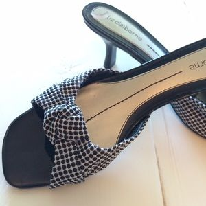 Black and white polka dot kitten heels
