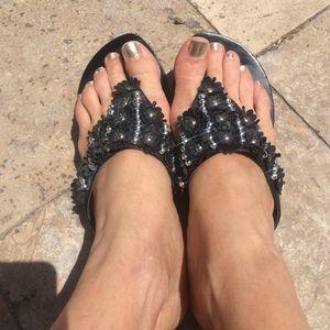 LAST CALL studded flower sandals black  cute