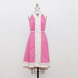 Pink and White Dot Sleeveless Dress