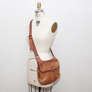 Fossil Tan Leather Cross Body Satchel Bag