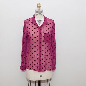 Pins and Needles Pink with Black Polka-Dots Shirt