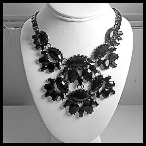 Stunning Black Crystal Statement Necklace