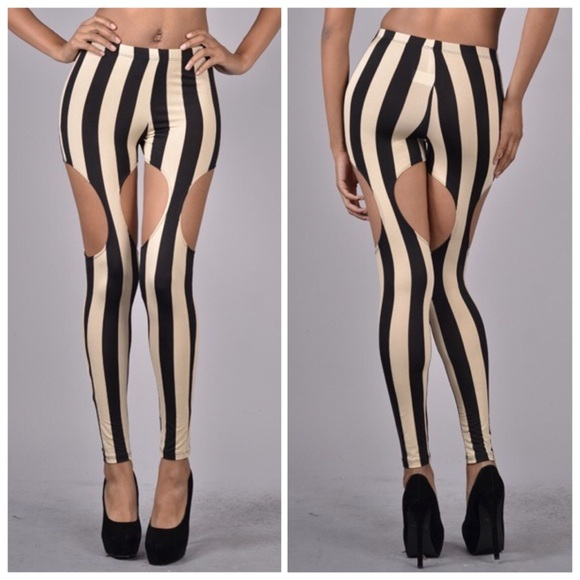 striped cut out leggings from acire 39 s closet on poshmark. Black Bedroom Furniture Sets. Home Design Ideas