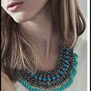 Bohemian Style Ethnic Green Statement Bib Necklace