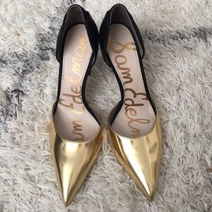 Sam Edelman Delilah gold and black pumps