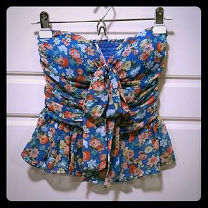 Zinga Tops - NWOT Floral Silky Tube Top with Bow Tie