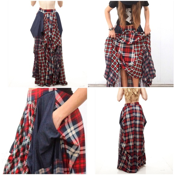 Plaid Long Skirt - Skirts