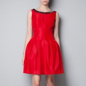 Zara Red Embellished Dress Size Small