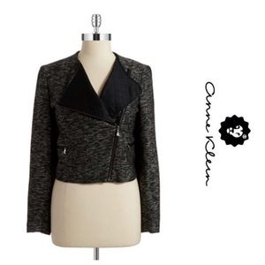 Anne Klein Tweed Moto Zip Jacket