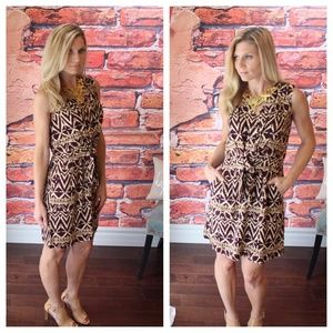 Wine and tan printed front tie dress