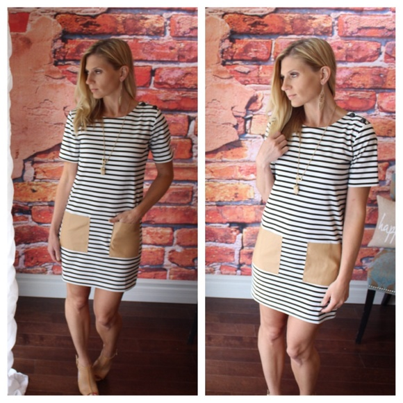 4daf939b5ce Black and white striped vegan pocket dress
