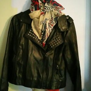 Outerwear - Black faux leather coat