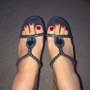 Navy rhinestone and satin heels