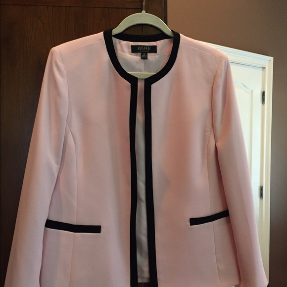Kasper Jackets Amp Coats Light Pink Pant Suit Wblack Trim