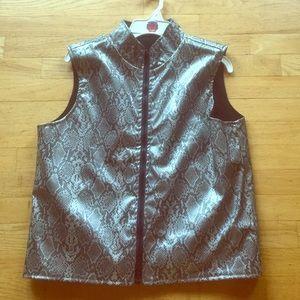 Reversible snake print vest