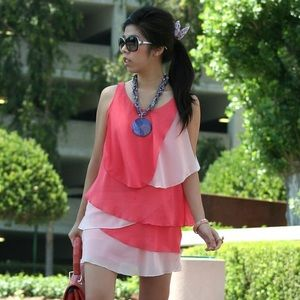 Dresses & Skirts - Coral and White Tiered Lightweight Spring Dress