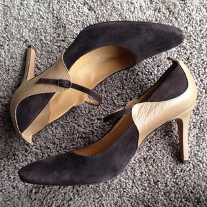MaxMara Suede and Leather Brown Heels