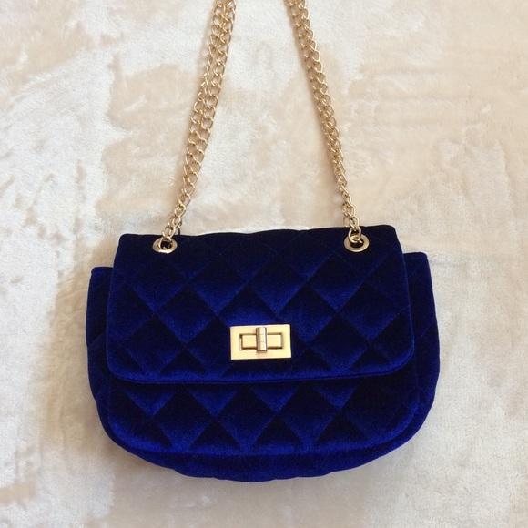 28 Off Forever 21 Handbags Cobalt Blue Velvet Quilted
