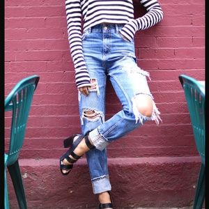 Zara distressed boyfriend jeans
