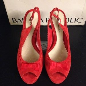 Size 7 red suede sling backs from Banana Republic