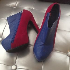 Deep fuchsia and French blue chunky ankle booties
