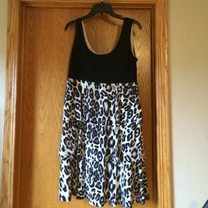 Animal print layered dress