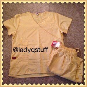 2pc. Yellow Butterfly Design Scrub Set