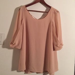 Sexy rose pink blouse with criss cross back