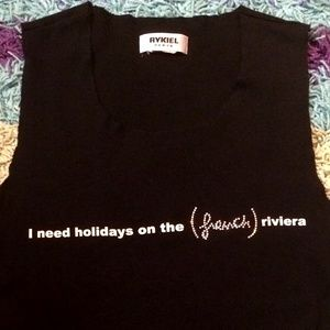 "SONIA RYKIEL ""French Riviera"" Black Cutoff Tank"