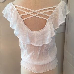 Tops - White top with ruffle and criss cross detailing