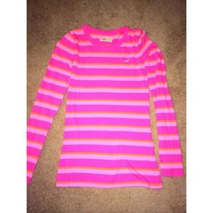 45% off Hollister Tops - Pink striped Hollister long sleeves shirt ...