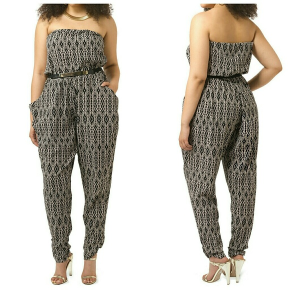 57640680cf  Mono Graphic  Print Strapless Jumpsuit 18W