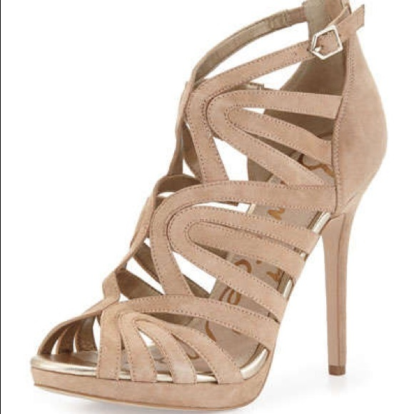 4a53a818a7a8 Sam Edelman Eve Suede Caged Sandal in Nude (NEW)