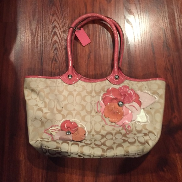 Coach Bags Beige Bag With Pink Floral Design Poshmark