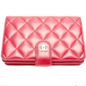 AUTHENTIC CHANEL lamb skin red wallet