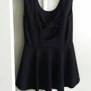 Tops - Black top with bow