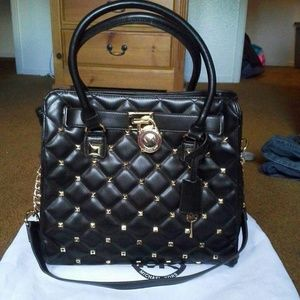 9b5fb87dee09 Michael Kors Bags - Michael Kors Large Black Studded Hamilton