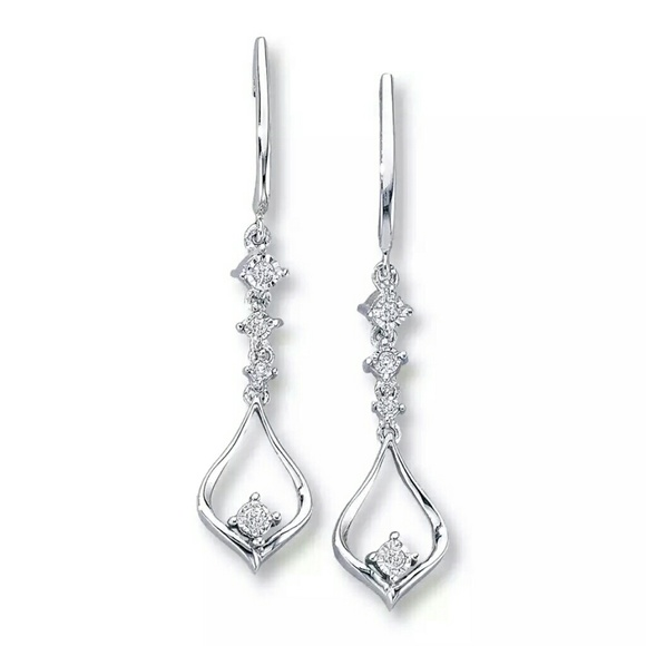 Kay Jewelers Jewelry 10k White Gold Diamond Drop Earrings Poshmark