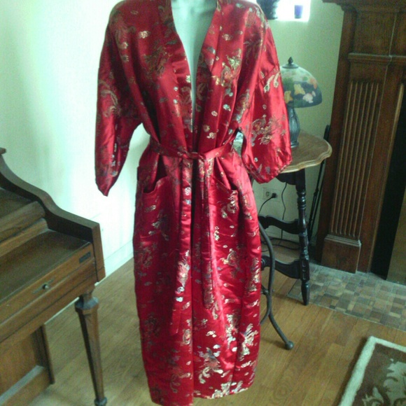 Golden Dragon Other - Red Silky Chinese Dragon Dressing Gown Robe Kimono 1739ddabf
