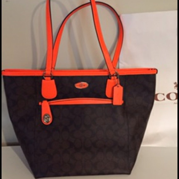 Coach Bags   Nwt Taxi Zip Top Tote With Neon Orange Pouch   Poshmark b2b19cadb8