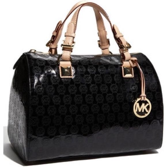 93e0ec6bf548f3 Michael Kors Grayson Black Patent Leather Satchel.  M_554e789fea99a6271e006d93