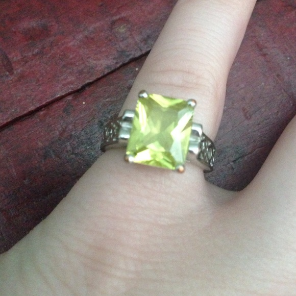 Lia Sophia Silver Ring With Light Green Stone