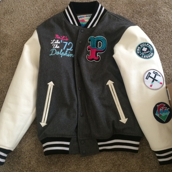 53% off pink dolphin Jackets & Blazers - Pink Dolphin letterman ...