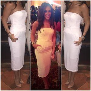 White Tube Midi Dress with Pockets